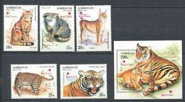242 AZERBAIDJAN 1997 - Yvert 335/39 BF 32 Surcharge Croix Rouge - Felin Chat Panthere - Neuf ** (MNH) Sans Charniere - Azerbaïdjan