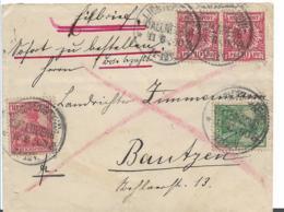 RP162 / Deutschland, Mischfrankatur Adler/Germania 1900. Lichtenstein-Callinberg Per Eilboten N. Bautzen - Germania