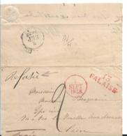 FP207 / Frankreich, Briefhülle 1828 Von Falaise Nach Caen - Poststempel (Briefe)