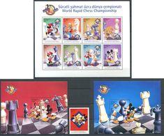 242 AZERBAIDJAN 1999 - Yvert 374/82 BF 42/43 - Championnat Du Monde Echecs Disney - Neuf **(MNH) Sans Trace De Charniere - Azerbaïdjan