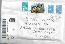 FS925 / Frankreich, Einschreiben Nach Spanien Mit 4 Marken (Marianne + Blake Mortimer - France