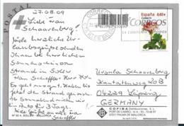EB001 / Spanien -  Blume, Einzelfrankatur 2009 Ex Mallorca Nach Leipzig - 2001-10 Storia Postale
