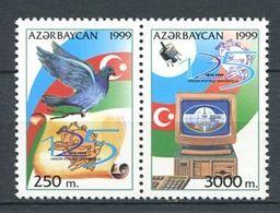 242 AZERBAIDJAN 1999 - Yvert 392 D/E - Embleme Pigeon Satellite - Neuf ** (MNH) Sans Trace De Charniere - Azerbaïdjan