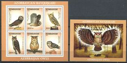 242 AZERBAIDJAN 2001 - Yvert 424/29 BF 54 - Oiseau Rapace Nocturne - Neuf ** (MNH) Sans Trace De Charniere - Azerbaïdjan
