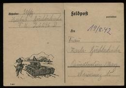 P0227 - DR Feldpost Postkarte Mit Bild Panzer: Gebraucht FP. Nr. 23096  - Quedlinburg 1942, Bedarfserhaltung. - Deutschland