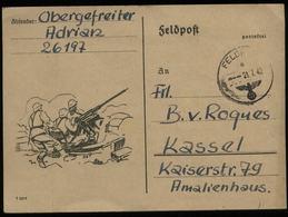 3. Reich - DR Feldpost Postkarte Mit Bild FLAK : Gebraucht Russland Feldpost - Kassel 1942, Bedarfserhaltung. - Deutschland