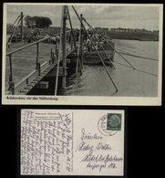 WW II DR Soldaten Pioniere Postkarte Brückenbau: Gebraucht Hanau - Höchst 1938 , Bedarfserhaltung. - Allemagne