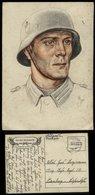 WW II Postkarte Tag Der Wehrmacht , Soldat Mit Stahlhelm , Farbig: Gebraucht Feldpost Reitersheim - Nürnberg 1940, Bed - Deutschland