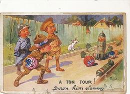 Bowling Comique Quille Guerre 1914  Signée Right Anti Kaiser  US Forces  Edit Lapina  Some Damages - Bowling