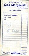 226 CAMERI ( TICINO) RISTORANTE LIDO MARGHERITA DI TOFFANIN MARIA , FATTURA - Svizzera