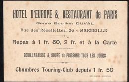 Vieux Papiers > Non Classés Marseille Hotel D Europe & Restaurant De Paris - Old Paper