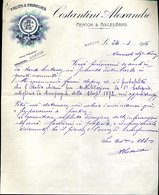 227 MENTON & AIX LES BAINS 1916, COSTANTINI ALEXANDRE , FRUITS & PRIMEURS , LETTERA INTESTATA - Alimentare