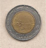 "Italia - Moneta Circolata Da 500£ ""Bimetallico"" - 1992 - 1946-… : República"