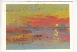 J M W, TURNER, Tours, Sunset, Tate Gallery, Used Postcard [22664] - Paintings