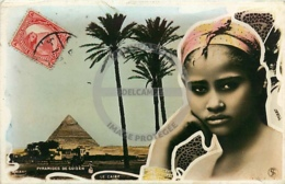 /!\ 8844 - CPA/CPSM - Egypte : Le Caire - Cairo : PHOTO Pyramide De Guizeh Et Jeune Fille - Cairo