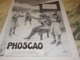 ANCIENNE PUBLICITE DEJEUNER PHOSCAO AU SKI 1931 - Affiches