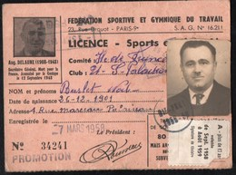Vieux Papiers > Non Classés F.S.G.T Licence De Sport Boules - Non Classés