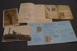 Mine,mineur,charbonnage,photos + Carte De Travail,Couillet,Marcinelle,Bois Du Cazier...documents Originaux,collection - Documents Historiques
