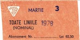 Romania, 1978, Bucharest Tramway Trolley Bus - Vintage Transport Ticket, ITB - Transportation Tickets