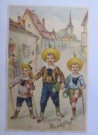"""Pfingsten, Kinder, Wandern, Maikäfer"" 1906, Prägekarte ♥  - Pentecôte"
