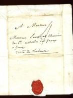 1757 - LST De PARIS Pour GRACAY (près TOULOUSE) - Taxe Manuscrite - Marcophilie (Lettres)