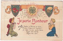 Jolie Carte Fantaisie / Je Porte Bonheur (Trèfle à 4 Feuilles) - Fantaisies