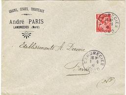 ENVELOPPE  A EN-TETE GRAINS ISSUES TOURTEAUX ANDRE PARIS LANDRECIES - Marcophilie (Lettres)