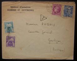 Domme Lettre Taxée Pour Groléjac (Dordogne) Timbres Taxe à 4 Et 2 Francs Oblitérés GROLEJAC (syndicat D'initiative) - Marcophilie (Lettres)