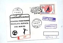 Lettre Recommandee Bistrita Championnat Europe Handball Feminin - Marcophilie - EMA (Empreintes Machines)