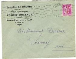 ENVELOPPE  A EN-TETE AUTOMOBILES LA LICORNE GARAGE JARDIN-HOUILLIER C THIEBAUT LAON - Marcophilie (Lettres)