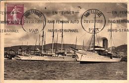 Thematiques Voiliers  Ferrie Cachet Raid Féminin Auto Paris St Raphael Du 28 05 1932 Saint Raphaël  Var - Sailing Vessels