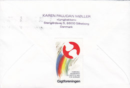 Denmark Slogan Flamme SILKEBORG 1991 Cover Brief Christmas Seal & Rheumatism Gigtforeningen Vignettes Rooster Coq Stamp - Dänemark