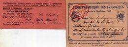 2 Cartes Adhérents , Ligue Patriotique Des Françaises 1933, Et Inscription Au Service Du Logement 54-55 - Barbie