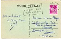 AFFRANCHISSEMENT 1ER JANVIER 1958 SECAP BEZIERS SUR CPA - Marcophilie (Lettres)