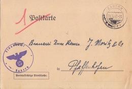Postkarte Pré-imprimée De La Finanzamt Obl Saverne (T325 Zabern C) En Franchise Le 20/3/42 Pour Pfaffenhoffen - Alsace-Lorraine
