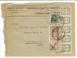 HISTORIA POSTAL Andalucía  Carta Sevilla-Andújar  1939   NL750 - España