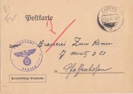 Postkarte Pré-imprimée De La Finanzamt Obl Saverne (T325 Zabern C) En Franchise Le 5/5/42 Pour Pfaffenhoffen - Alsace-Lorraine
