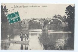 Cpa - Dpt  - Gard  -  Gallargues -  Pont Romain Embarcation   - Animation -     (  Selection  )   Rare  1910 - Gallargues-le-Montueux