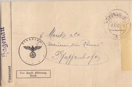 Lettre Pré-imprimée De La Finanzamt De Haguenau (T329 Haguenau Els H) En Franchise Le 18/9/42 Pour Pfaffenhoffen - Postmark Collection (Covers)
