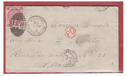 GRANDE-BRETAGNE--1873-- -LAC- LETTRE DE CARDIFF POUR NANTES--LETTRE ARMATEUR NANTAIS-- - 1840-1901 (Viktoria)