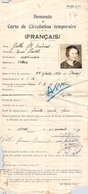 Demande De Carte De Circulation Temporaire 1939 Ww2 Pour Mme Galle Marie Isabelle - Titres De Transport