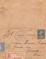 Carte-Lettre - Entier Postal - Recommandé De Morbier Jura à Oyonnax Ain - Postwaardestukken
