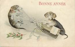 -ref-B299- Animaux - Chiens - Cien - Teckels - Teckel - Champagne - Gui - Bonne Année - - Dogs