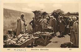 -ref-B298- Marchands Ambulants - Marchand Ambulant - Bouchers Marocains - Boucher - Boucherie - Metiers -  Maroc - - Marchands