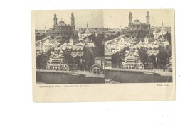 Cpa Stéréoscopique - PARIS Exposition De 1900 Ensemble Des Colonies - LL - Travaux échafaudage - Stereoscope Cards