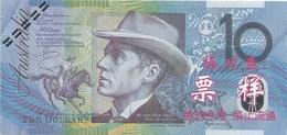 """BILLET DE TYPE """" AUSTRALIEN DE 10 $ De 1993 Mais SURCHARGE EN CHINOIS ????   2 SCANES - Coins & Banknotes"""