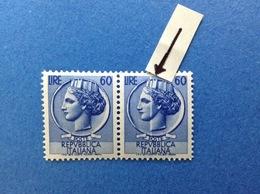 1955 ITALIA FRANCOBOLLO NUOVO STAMPS NEW MNH** SIRACUSANA 60 LIRE VARIETA' STRISCIA BIANCA SUL VOLTO - 6. 1946-.. Repubblica