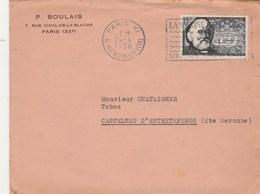 Yvert 1056 Tellier Seul Sur Lettre Entête Boulais Cachet Flamme PARIS 1956 Pour Castelnau D' Estrefonds Haute Garonne - Brieven En Documenten