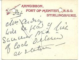 POSTMARK - PORT OF MENTEITH - WITH RAILWAY SORTING OFFICE ADDRESS - STIRLINGSHIRE - SCOTLAND - Postmark Collection