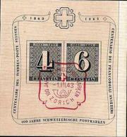 Schweiz Suisse 1943: 100 Jahre Zürich-Marken Centenaire  Zu WIII14 Mi Block 8 Yv BF 9 O Zürich 1.III.43 (Zu CHF 80.00) - Suisse